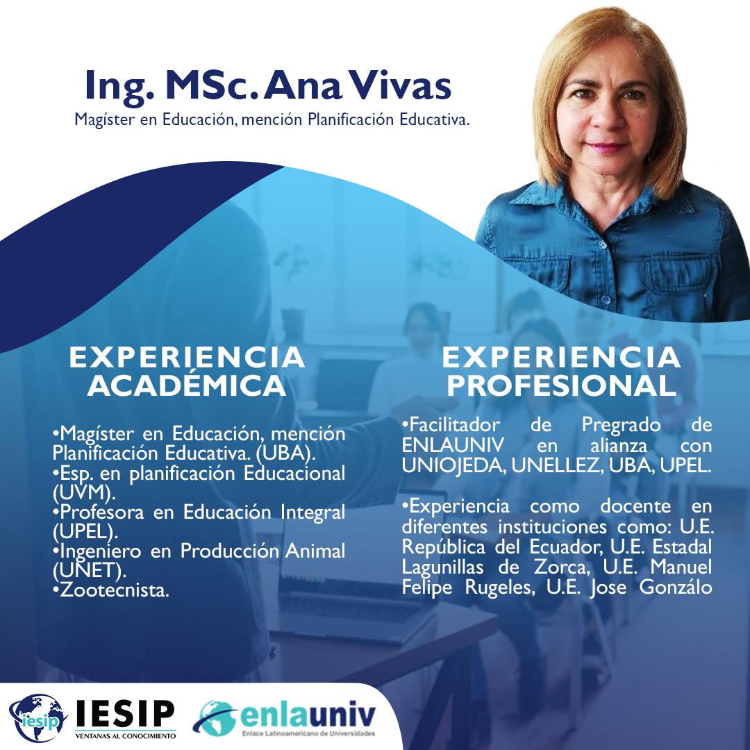 Ing. MSc Ana Vivas