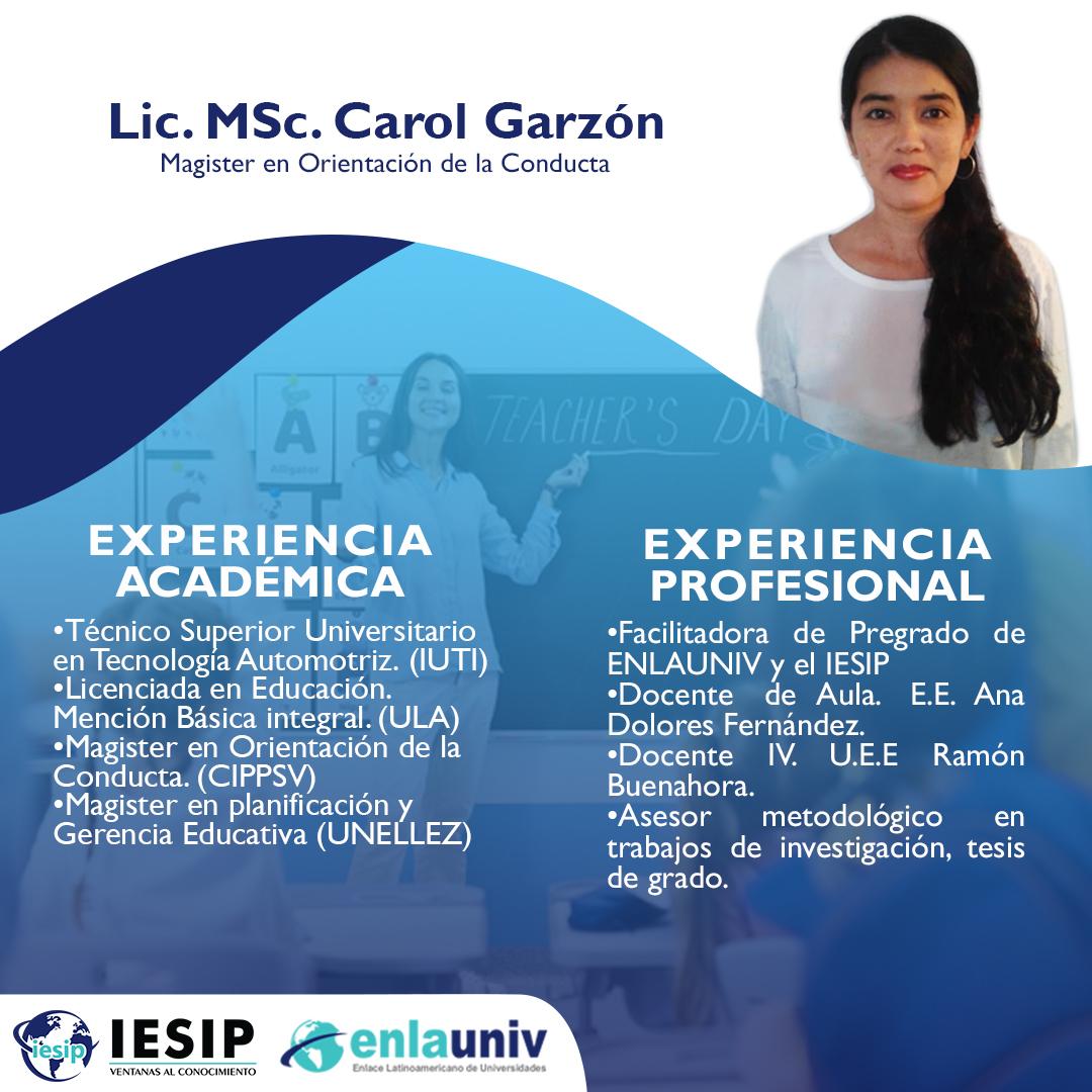 Lic MSc Carol Garzón